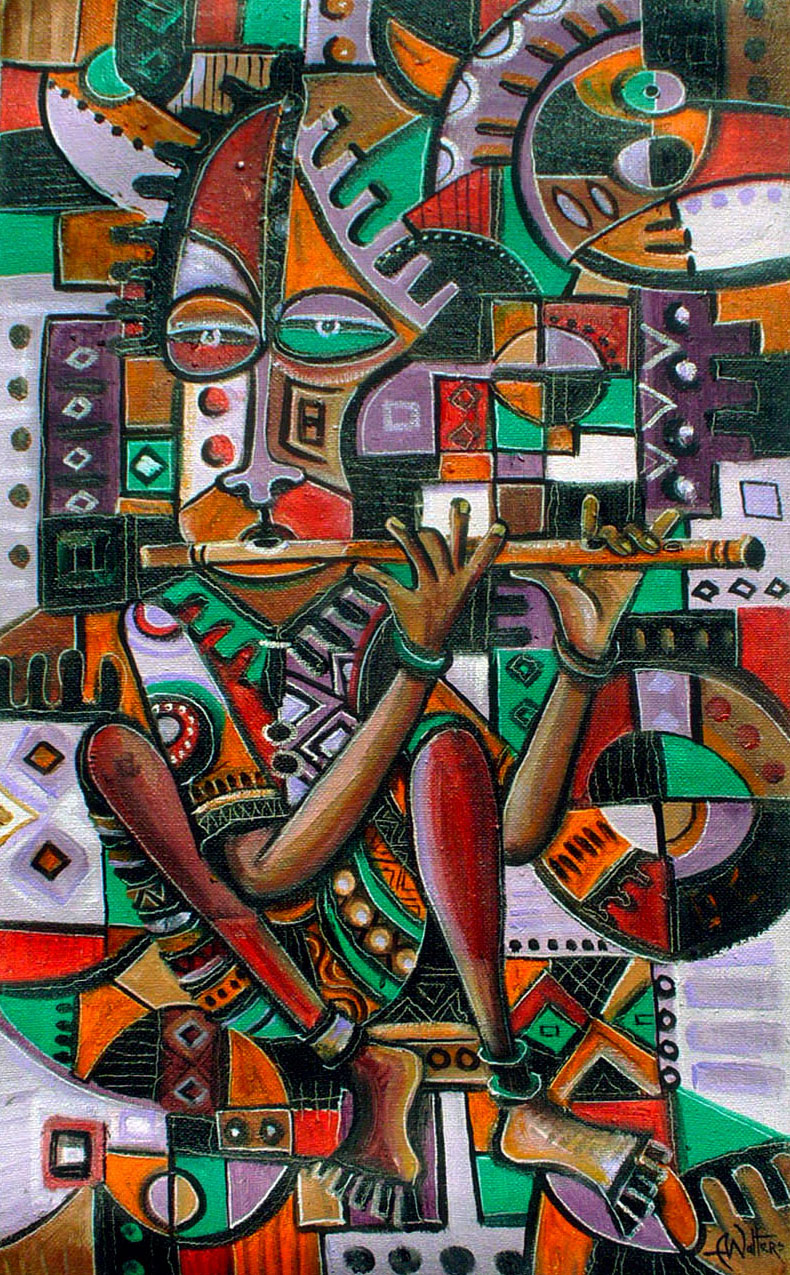 The Flutist is an oil painting in abstract figurative style of a flute player making music.