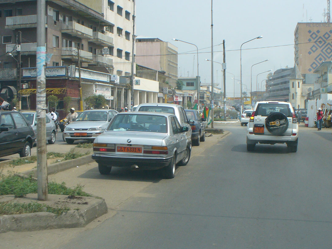 Middle of street parking, Douala, Cameroon