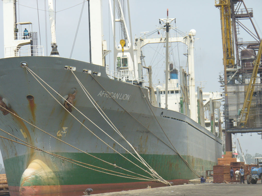 Cargo ship African Lion in Douala port