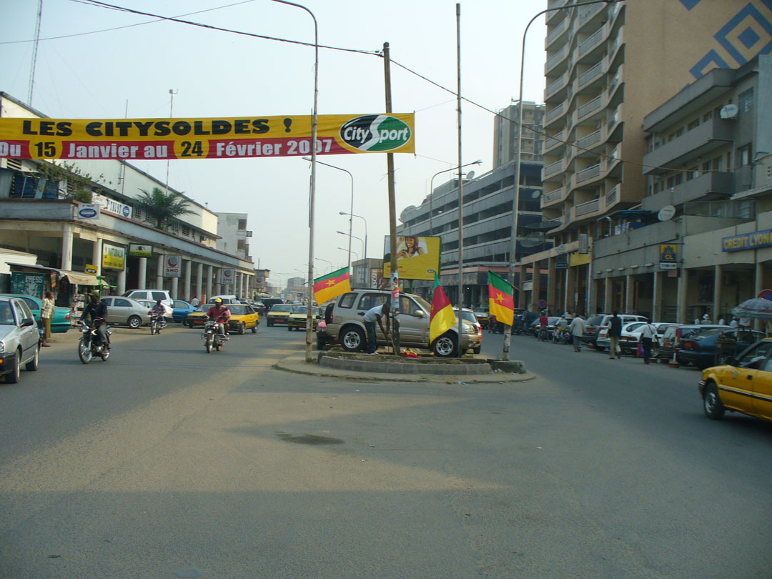 Douala middle of street parking