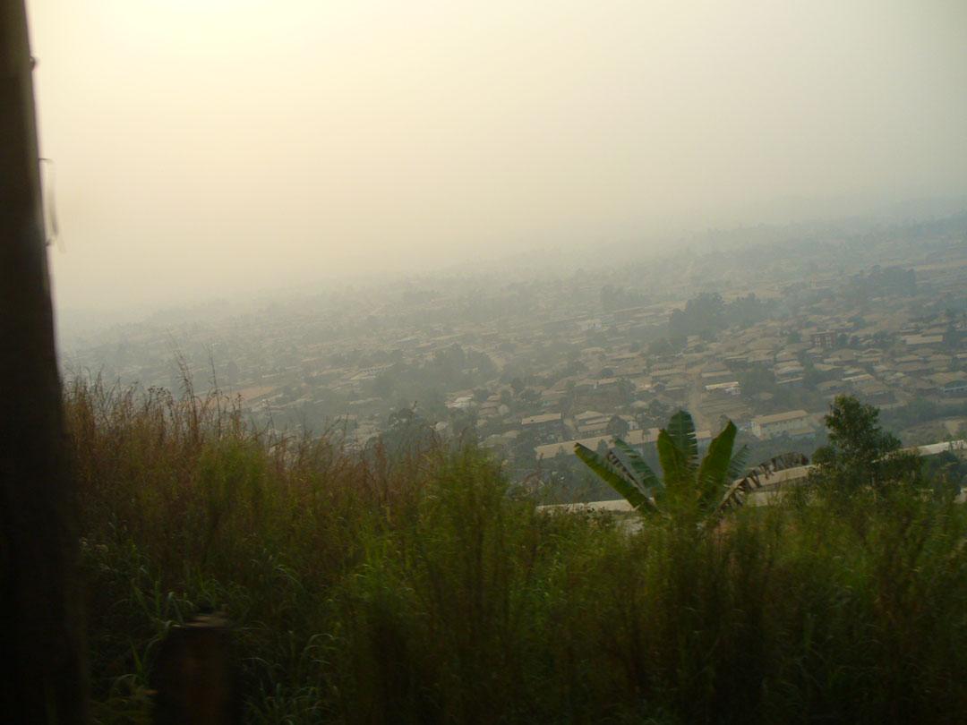 Bamenda Cameroon from high in smoke