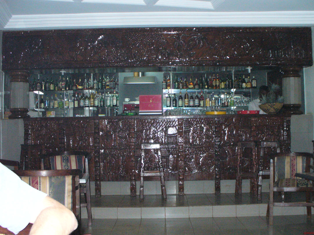Drinking in a carved wood bar