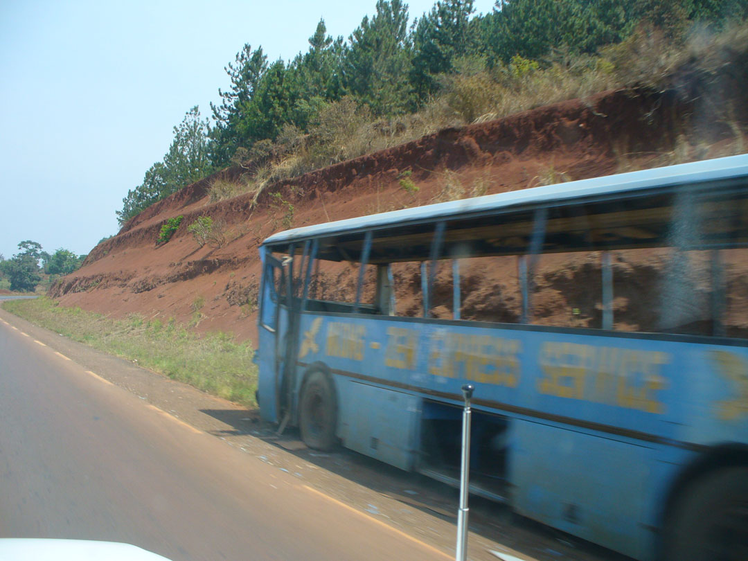 Wrecked bus in Africa