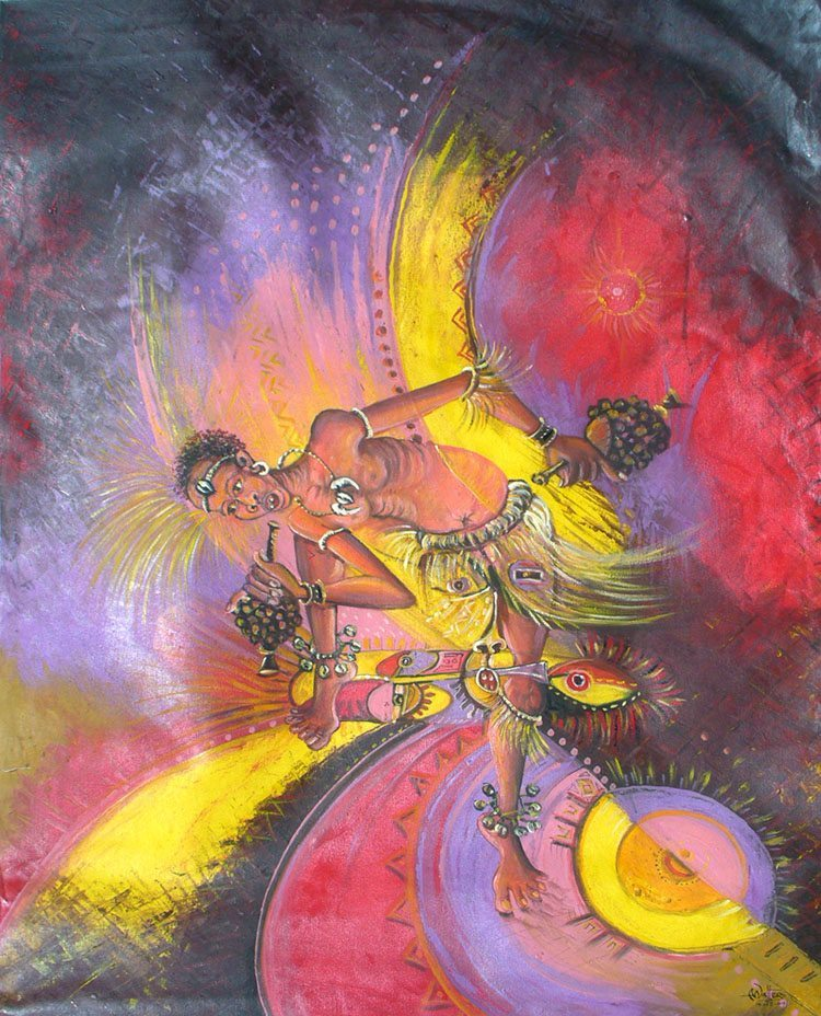 Surreal oil painting of an African dancer in Cameroon.