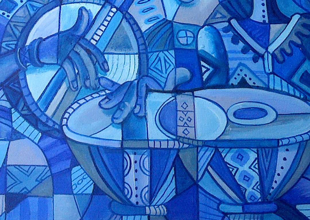African Banjo Player blue painting close