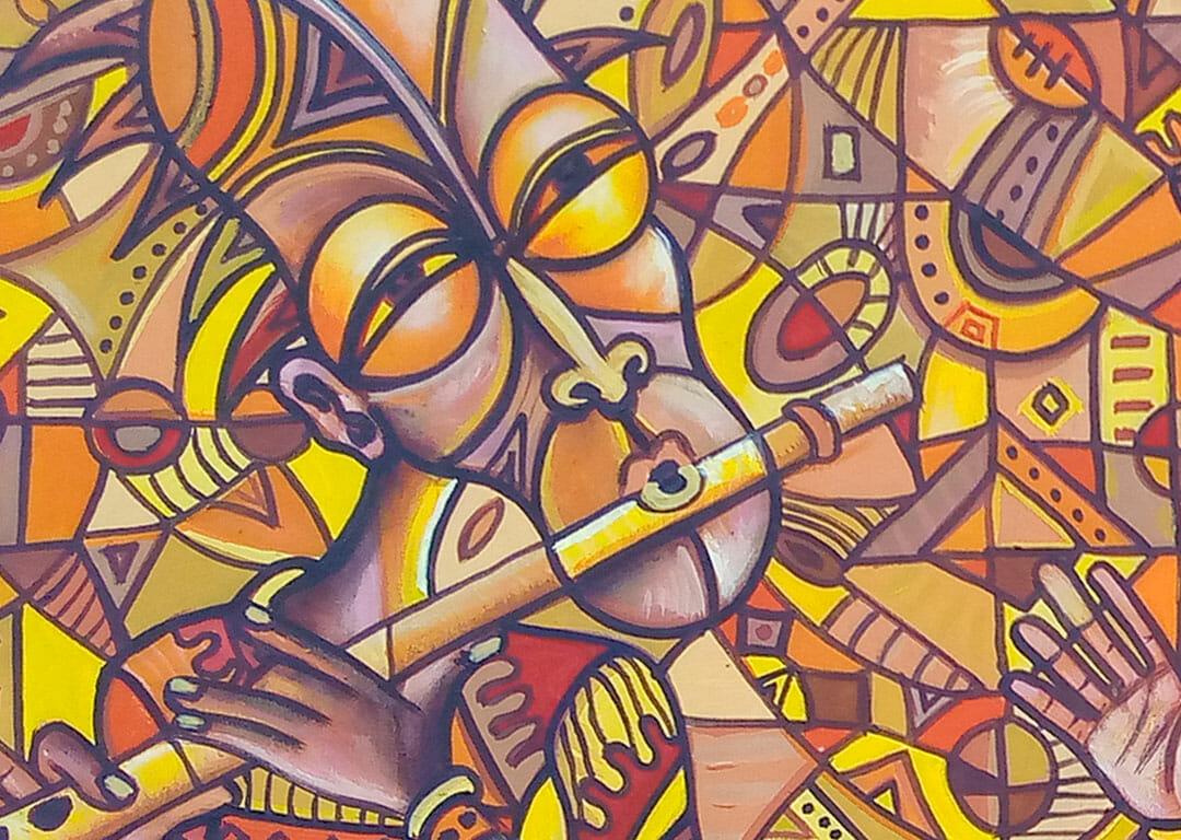 Afican Blues Singers musicians painting close