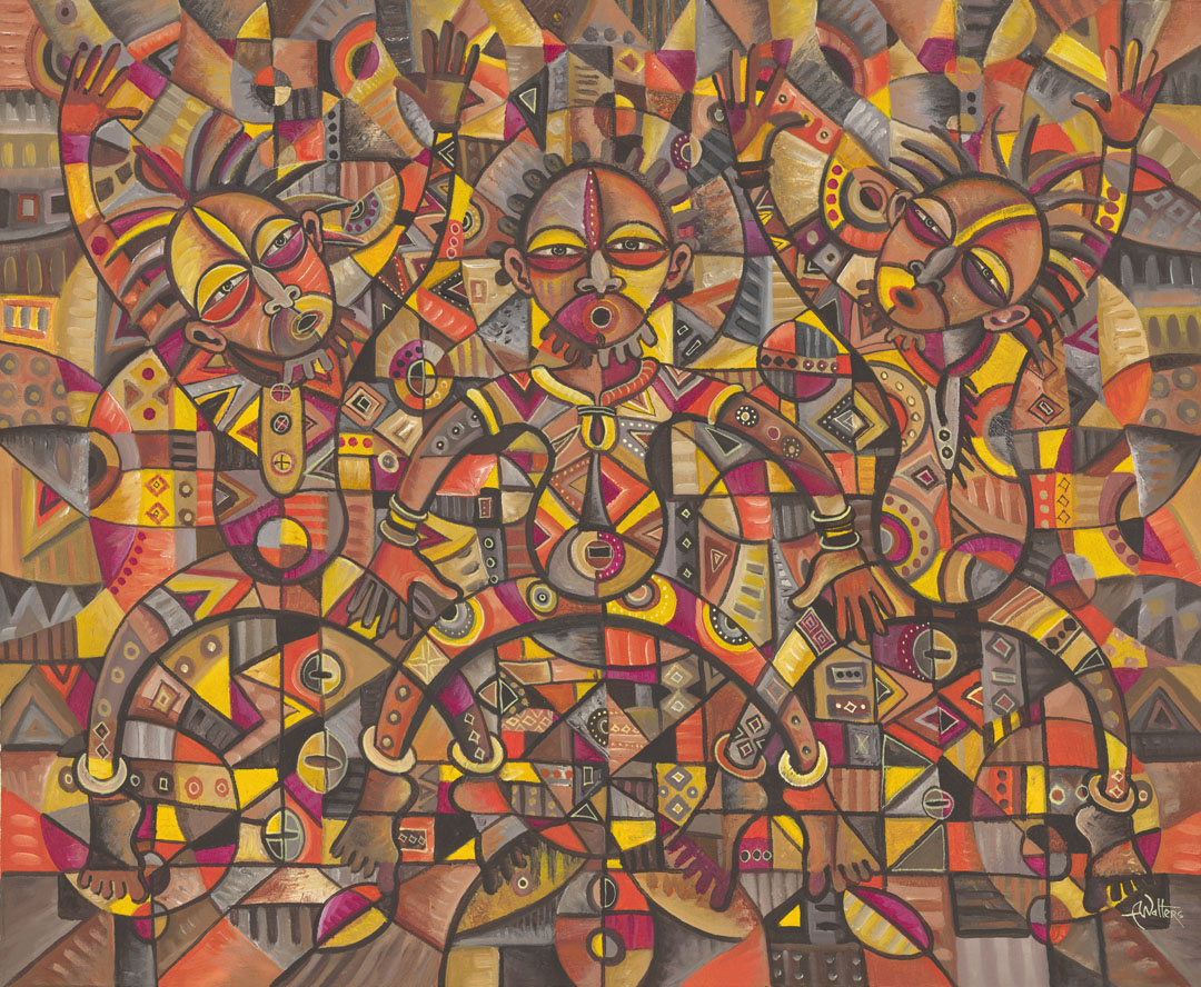 Here is an enormous acrylic painting of an African music band.