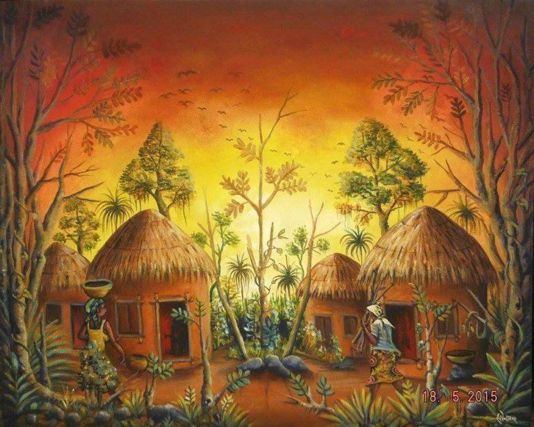 African Village at Sunset