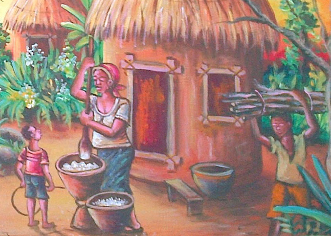 African Village tranquil scene at sunset close