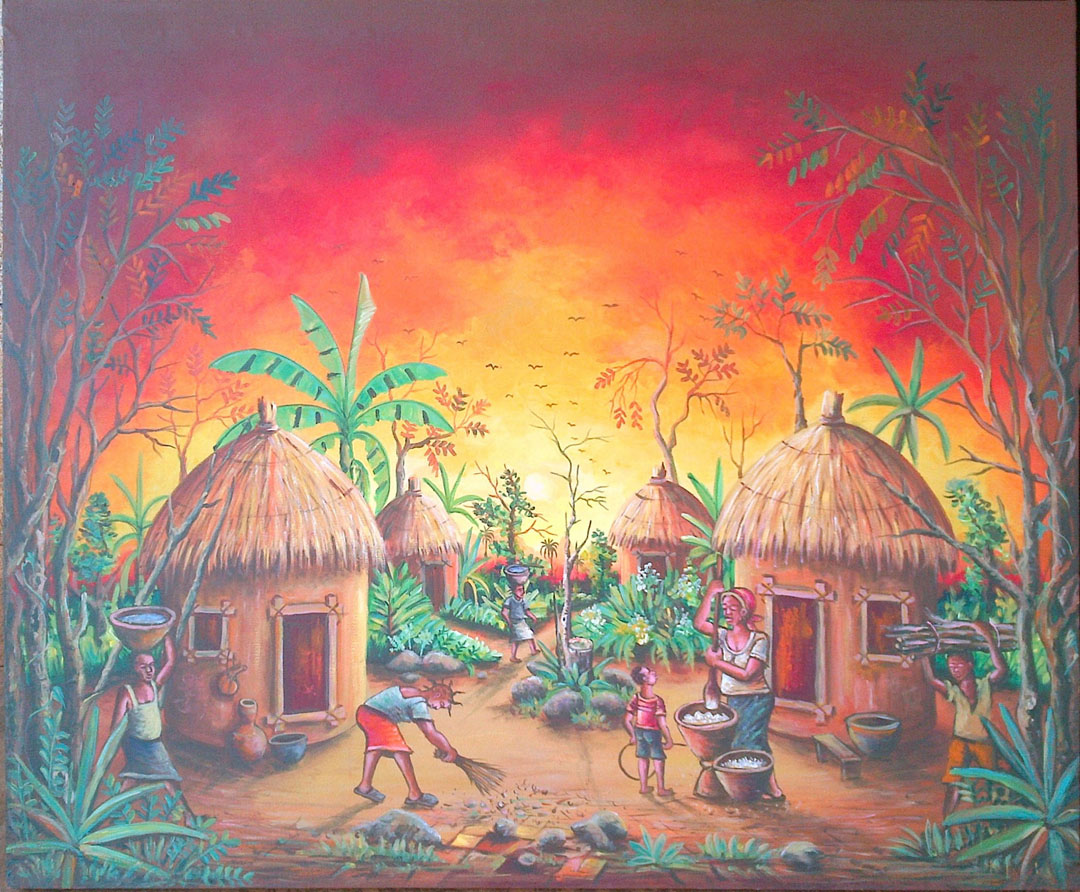 Here is an original acrylic painting by Angu Walters of an African village in Cameroon.