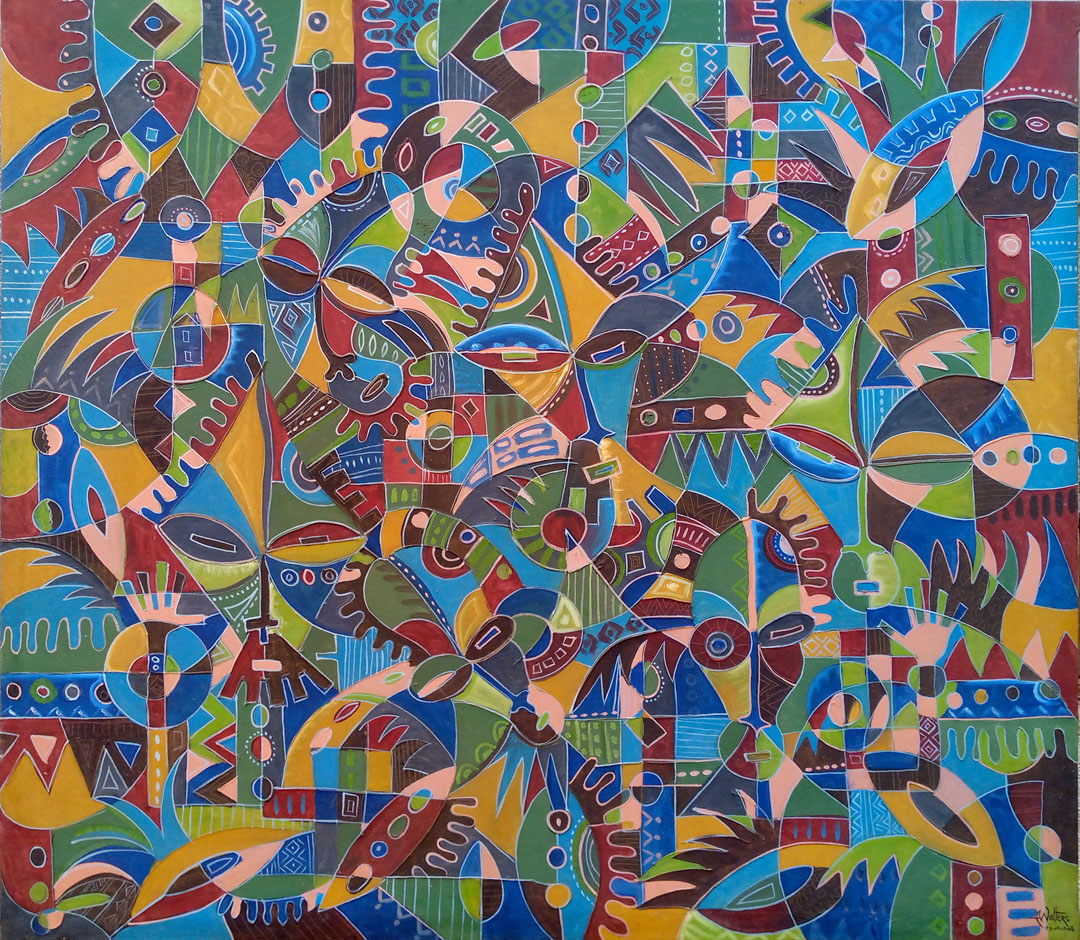 Here is a 4 foot wide painting from Central Africa so rich in detail.