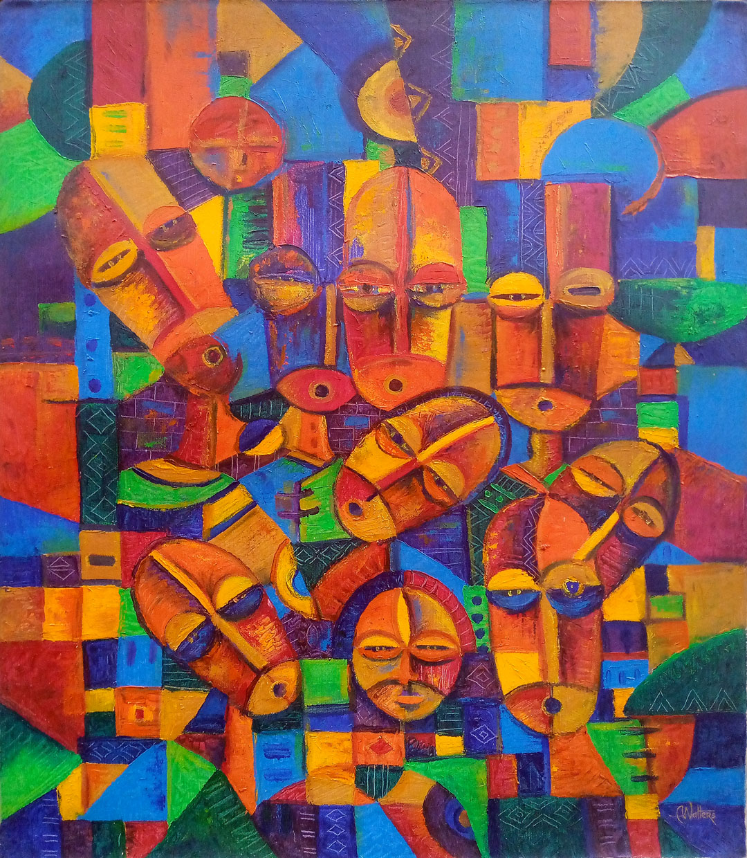 Painted in bright acrylic colors, it's a set of abstract figurative faces from Africa.