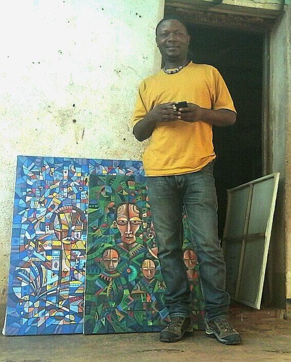 Angu Walters outside his studio