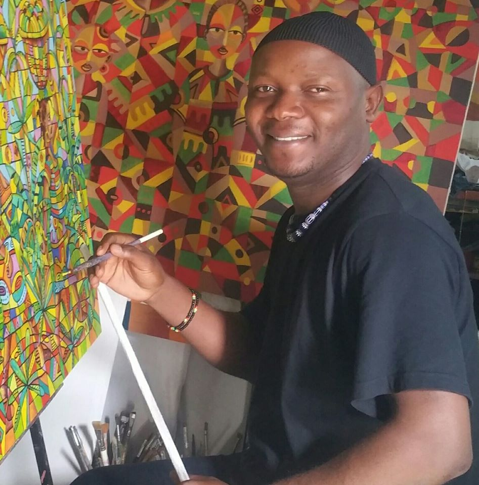 Angu Walters at work painting