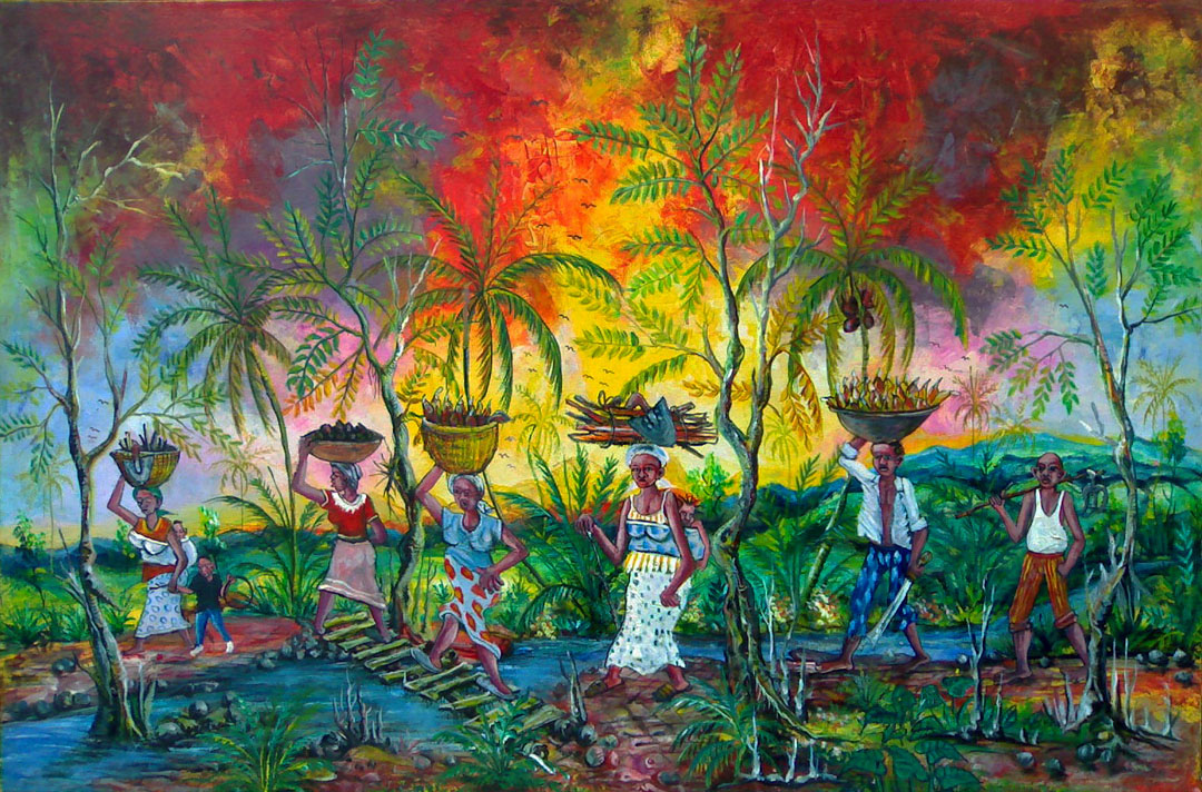 This painting is a scene of African villagers returning home with their harvest at nightfall.