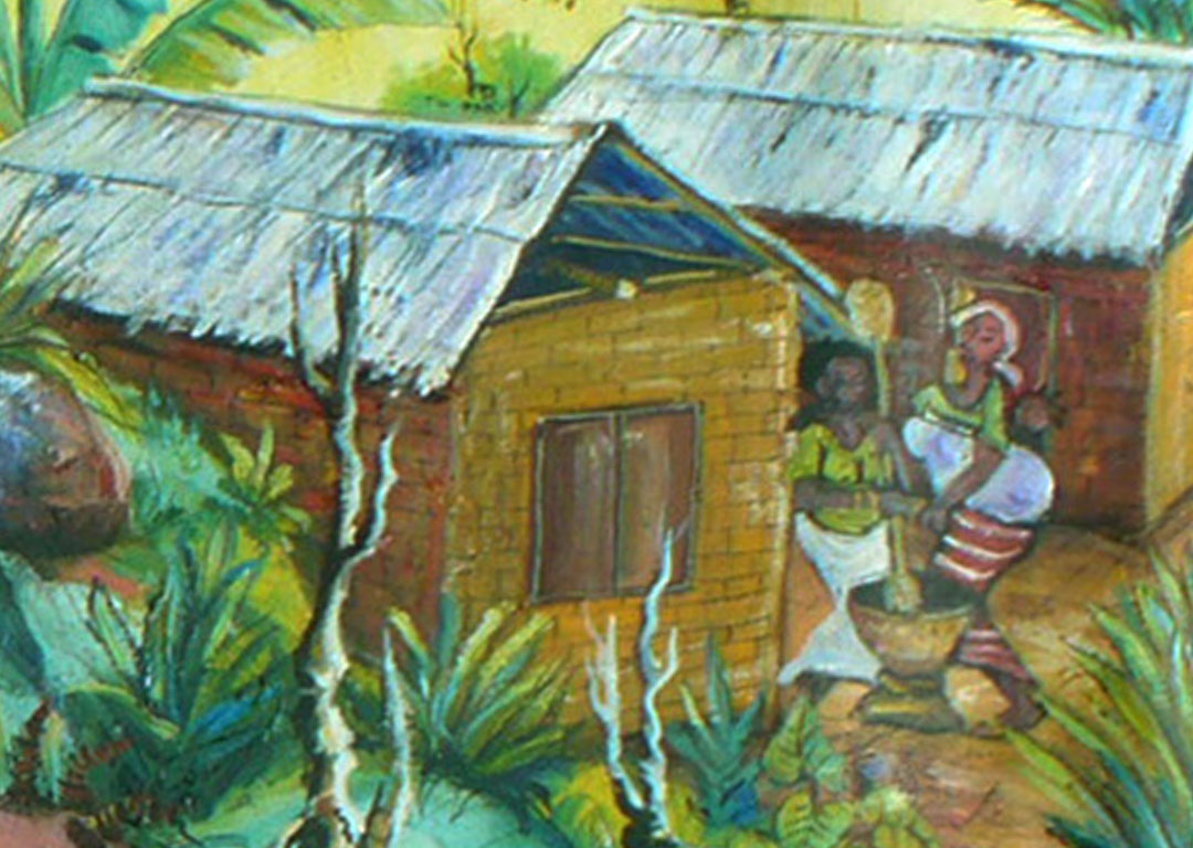 The Bush Doctor traditional African medicine painting close