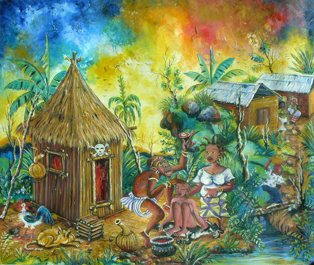 The Bush Doctor traditional African medicine painting