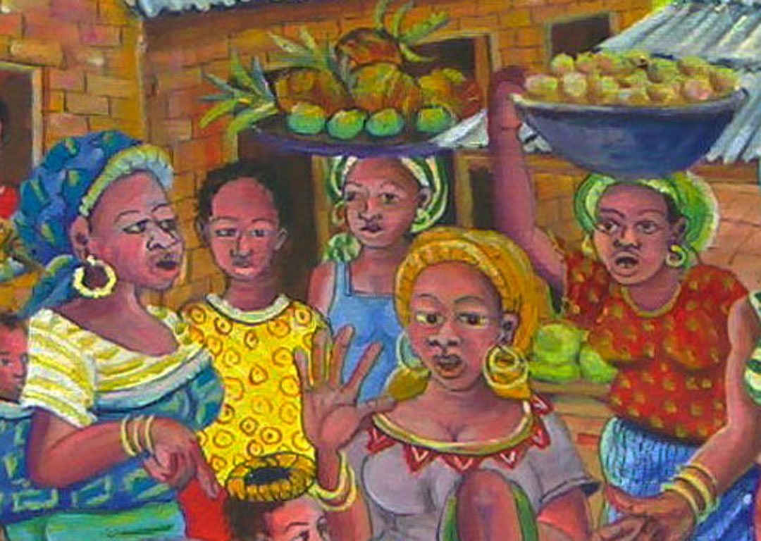 Bush Market II African village painting close