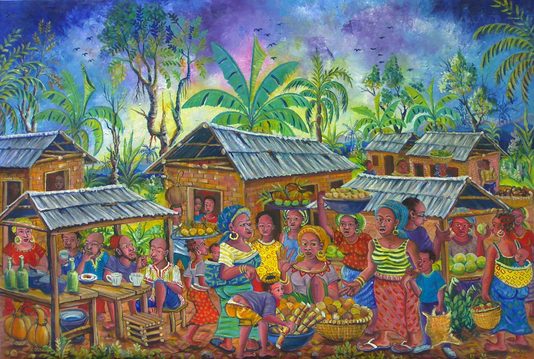 Oil painting of a festive African village on market day, Saturday, with many people busy or having a good time.