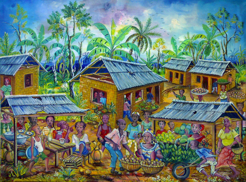 Bush Market 3 African village painting
