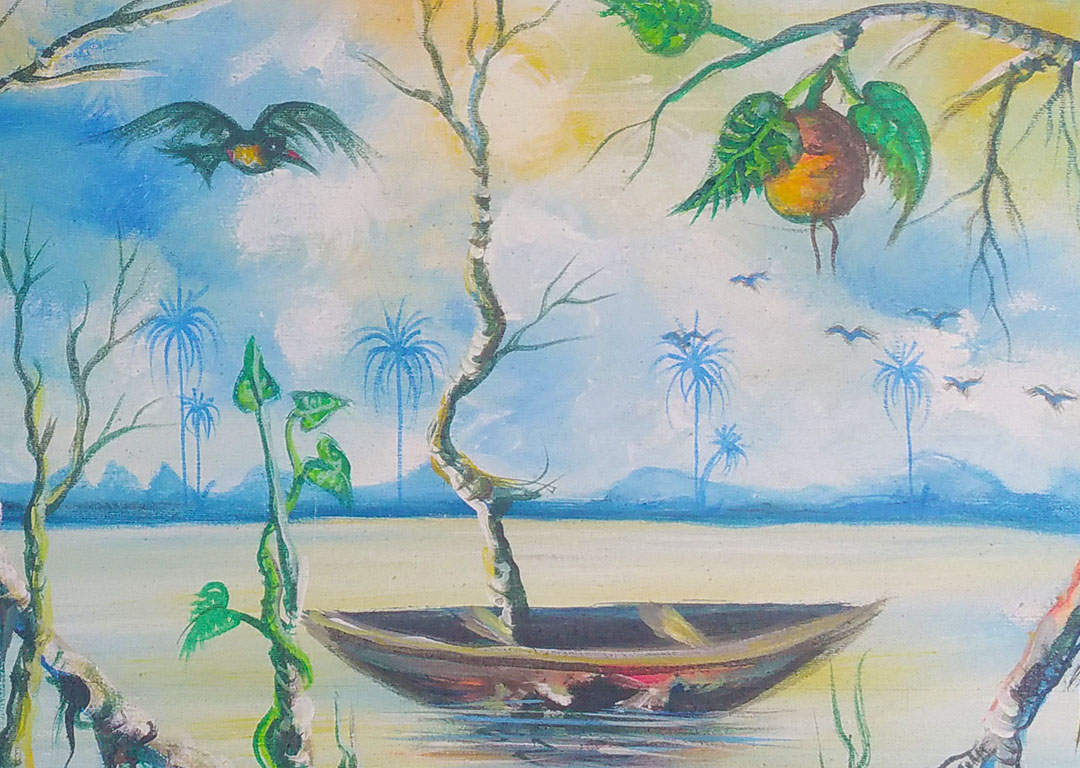 By the Riverside African landscape painting close