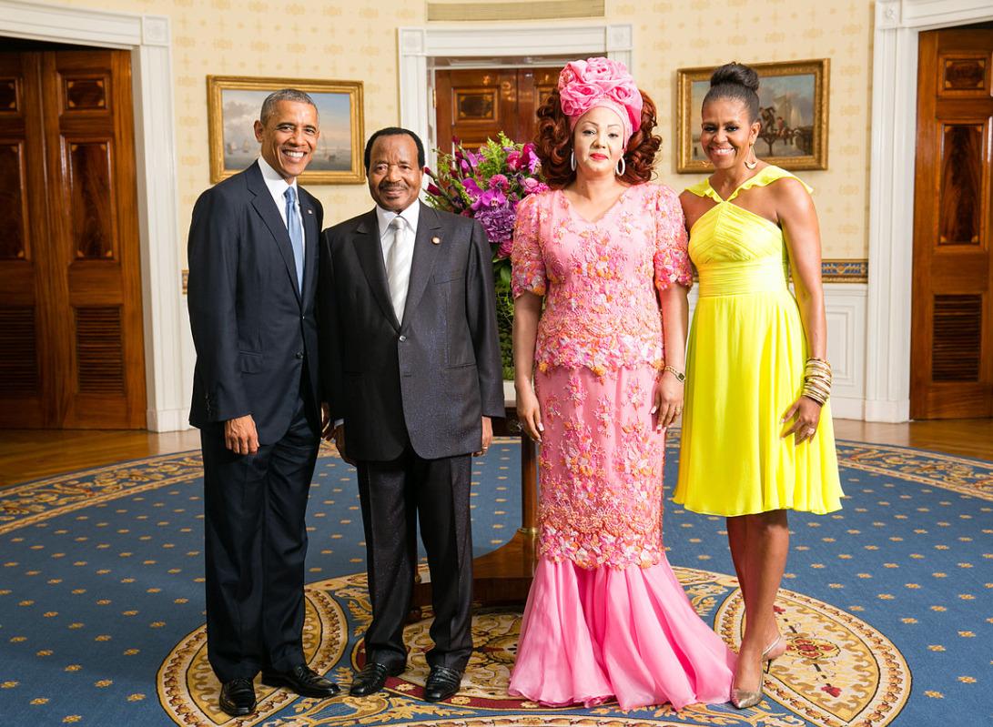Cameroon president Biya with Obamas