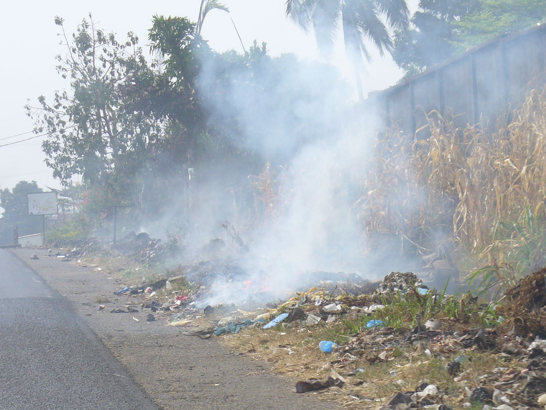 roadside trash fire