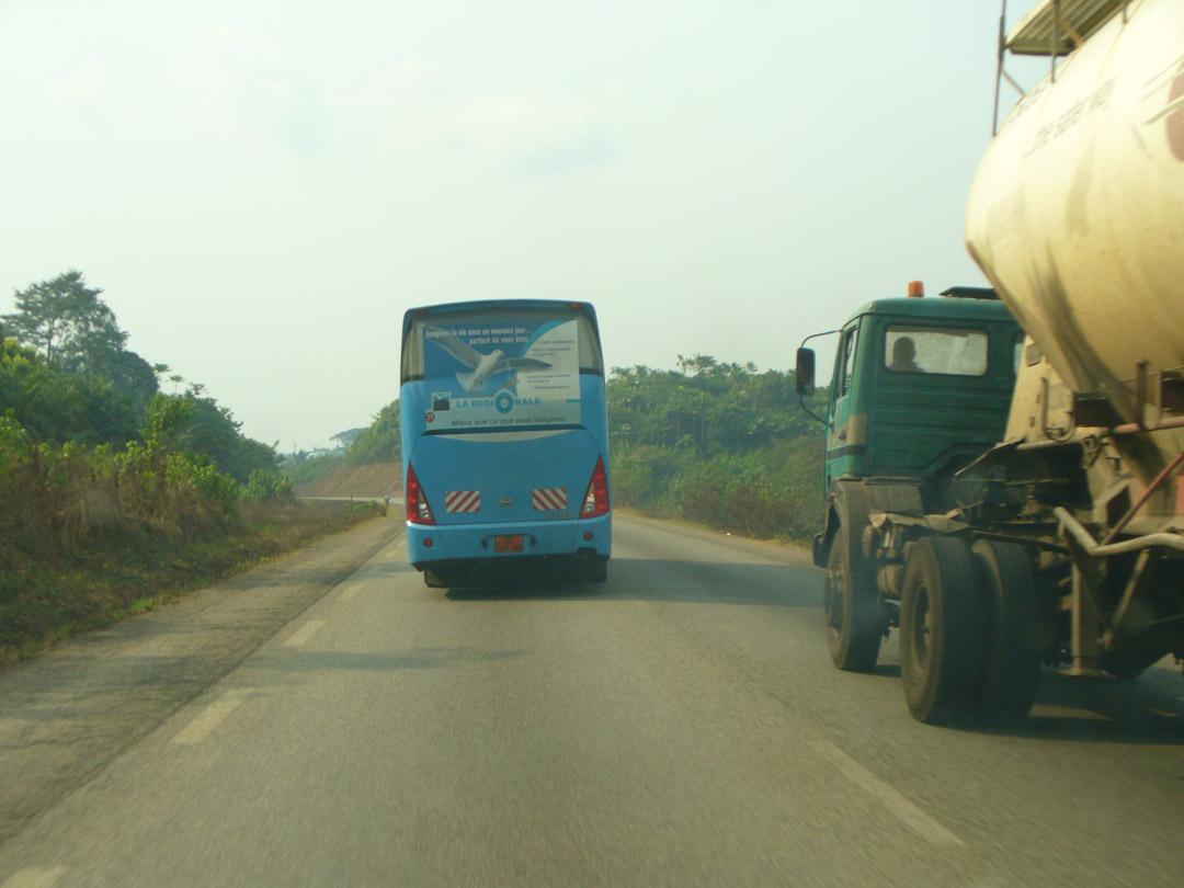 Cameroon bus passing is dangerous