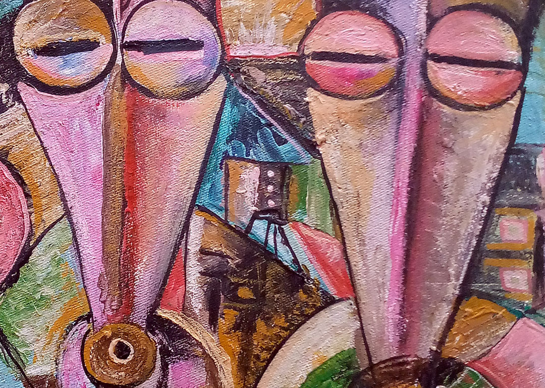 Couple 2 African lovers painting close