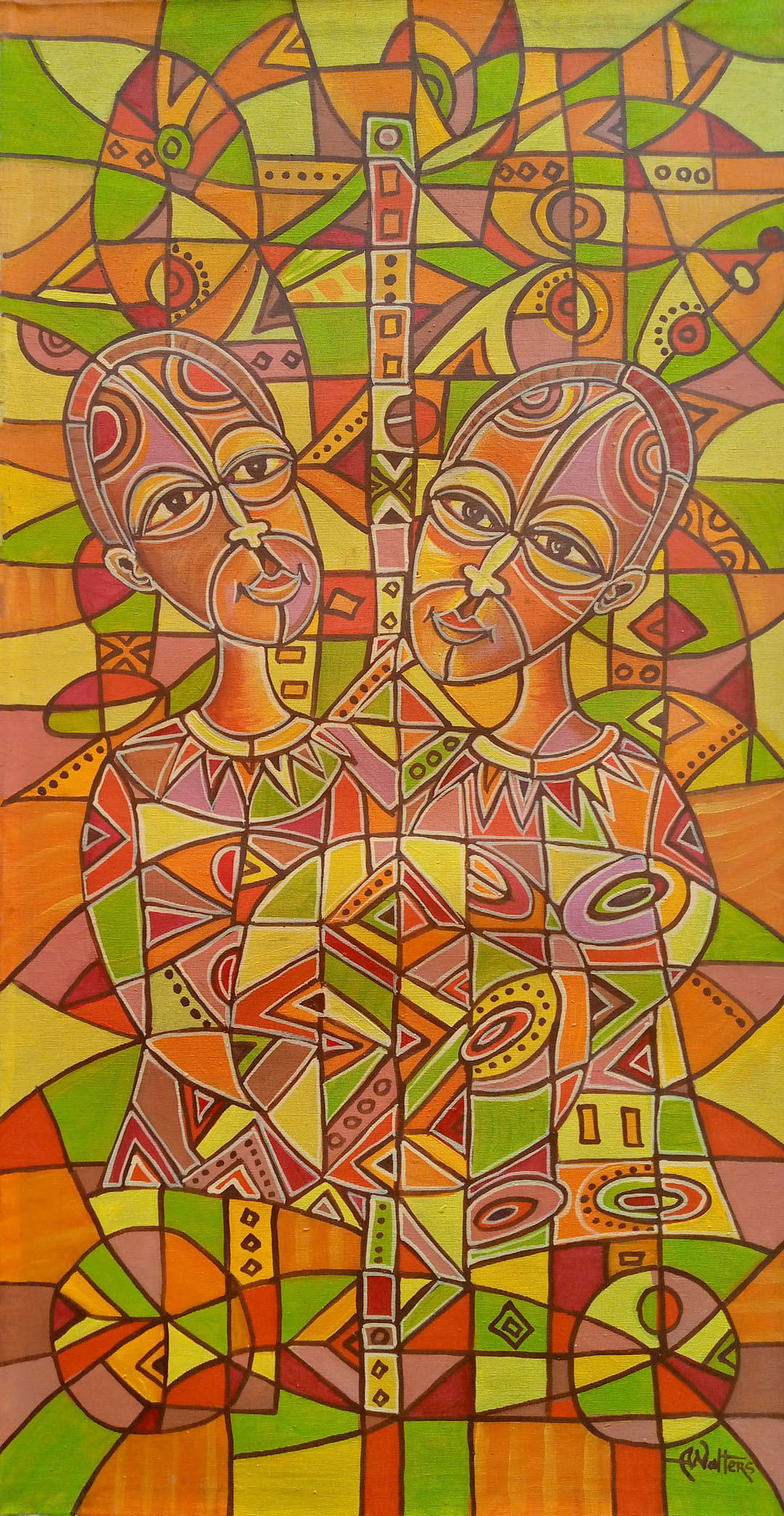 African art painting of a couple in bright acrylic colors.