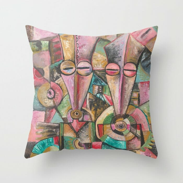 Couple surreal painting on pillow