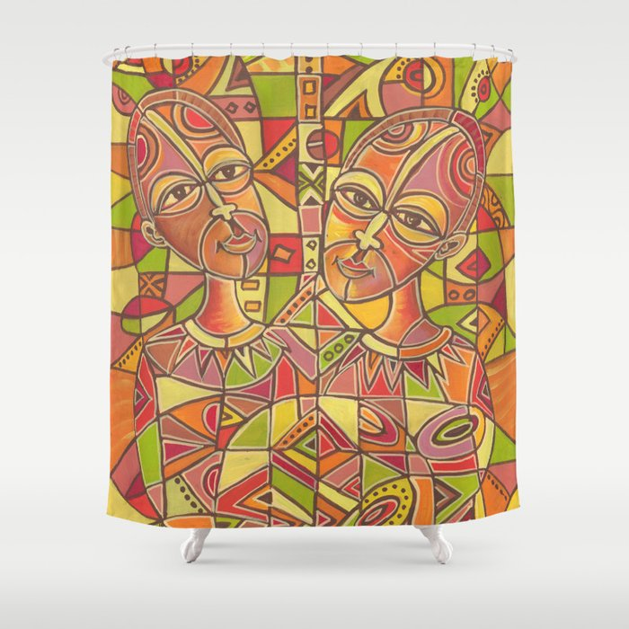 Couple painting Shower curtain