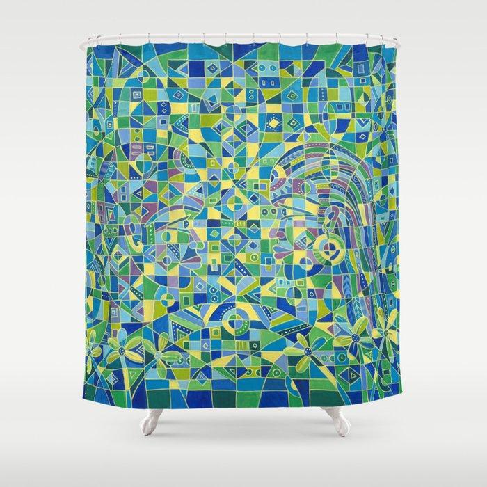 Dialogue 4 shower curtain