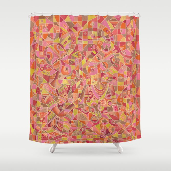dialogue 5 marriage painting shower curtain