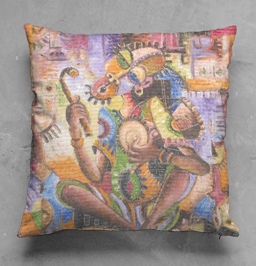 The Drummer African painting pillow