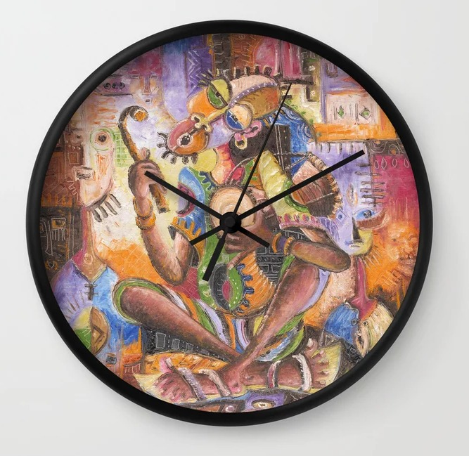 The Drummer African painting clock