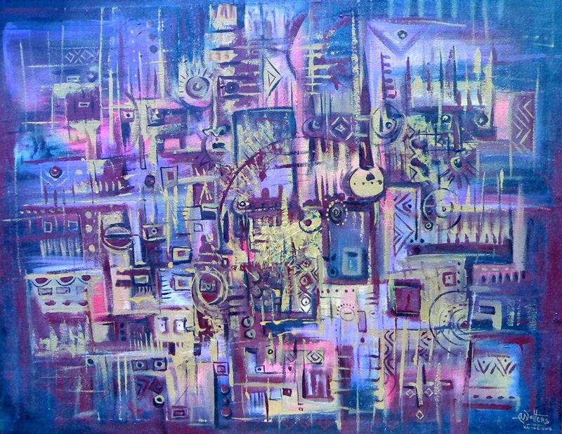 Here is an abstract oil painting in deep blues and violet.