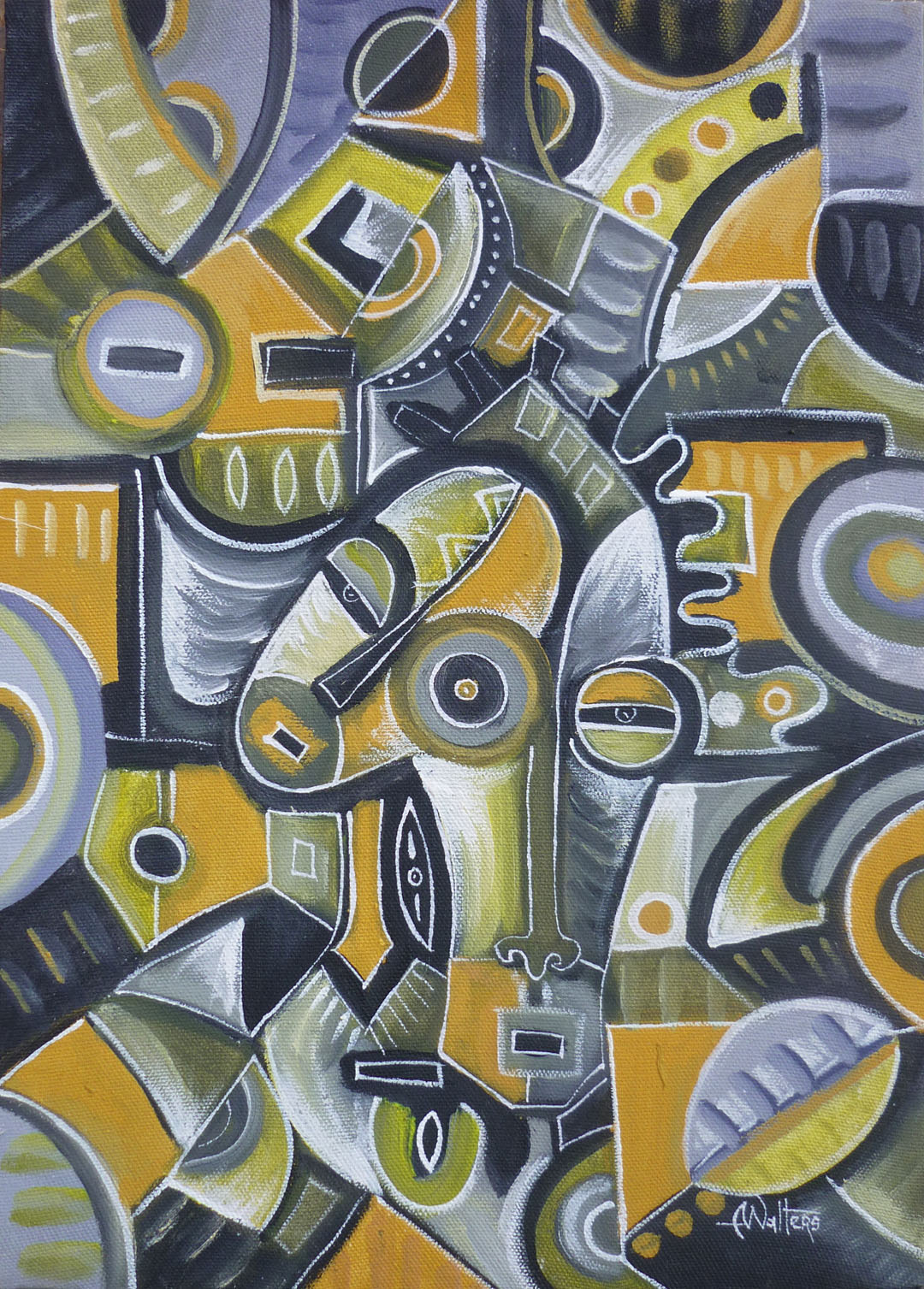 Abstract figurative painting from Africa by Angu Walters.