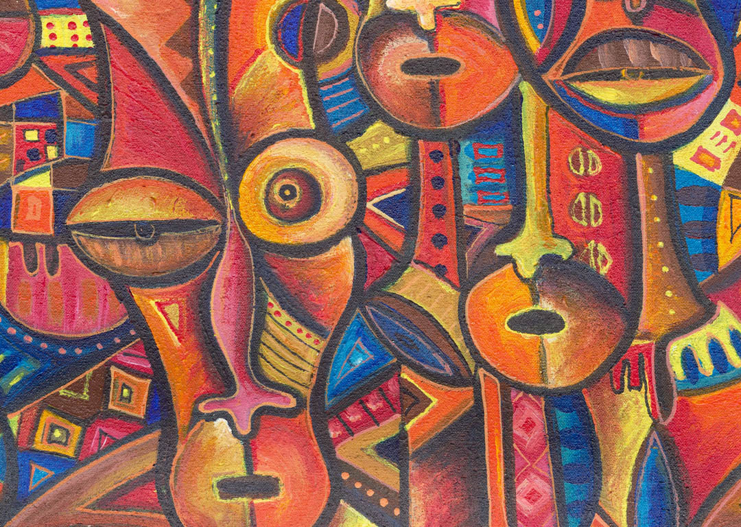 Faces 6 african painting