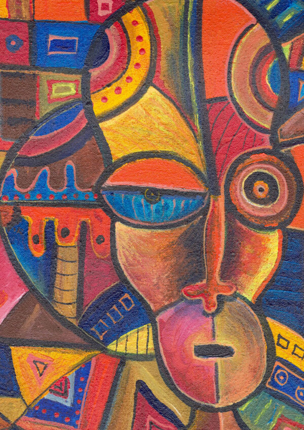 Faces 6 African painting close