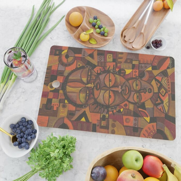 family portrait from Africa cutting board