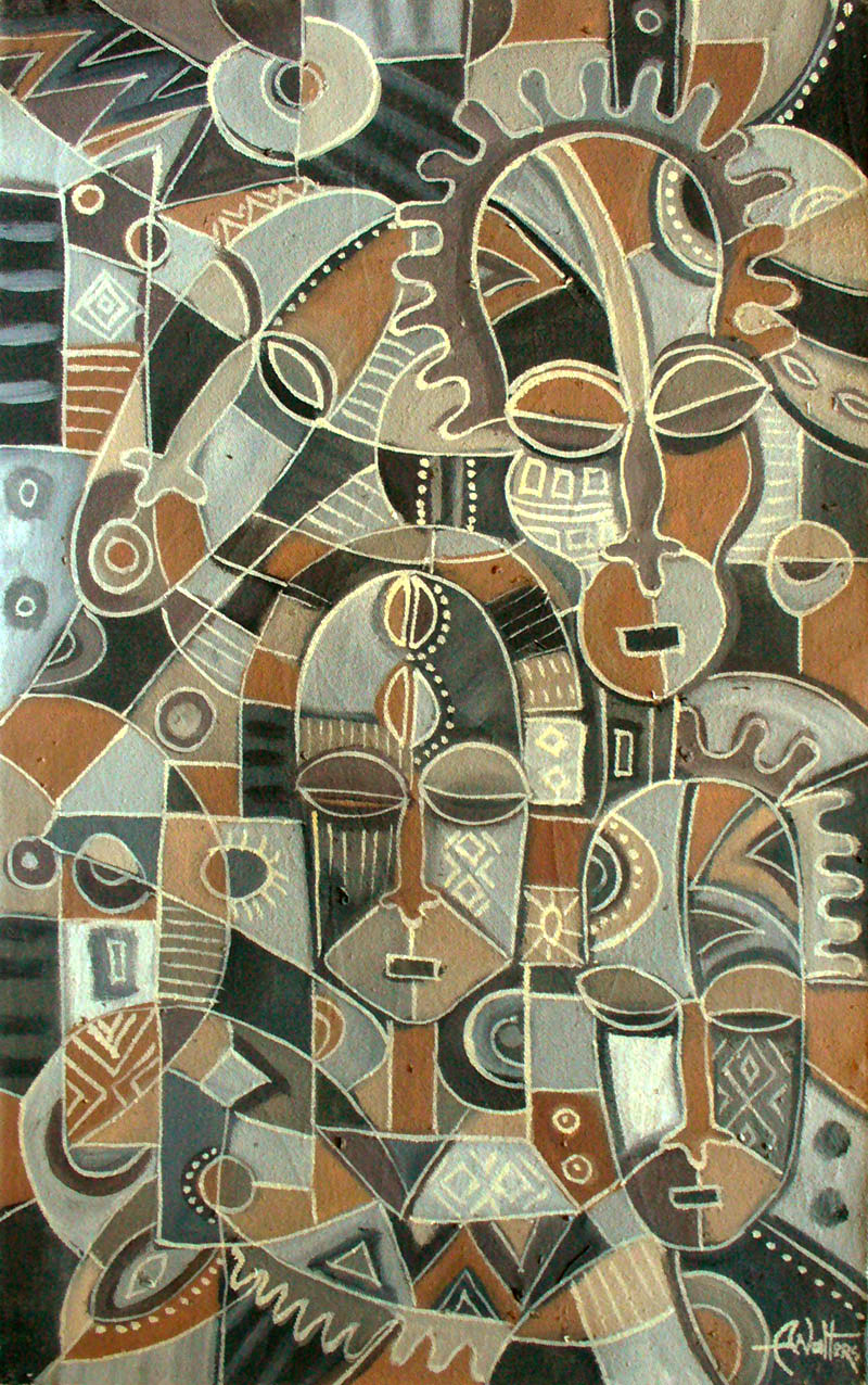 Family Reunion 5 is an abstract figurative painting is from Cameroon.