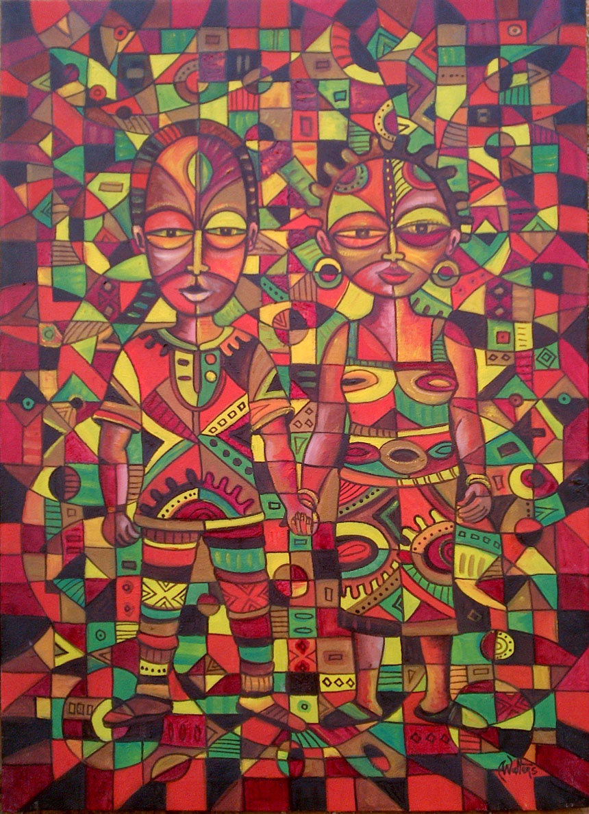Here is an original oil painting of a couple in love in Africa.
