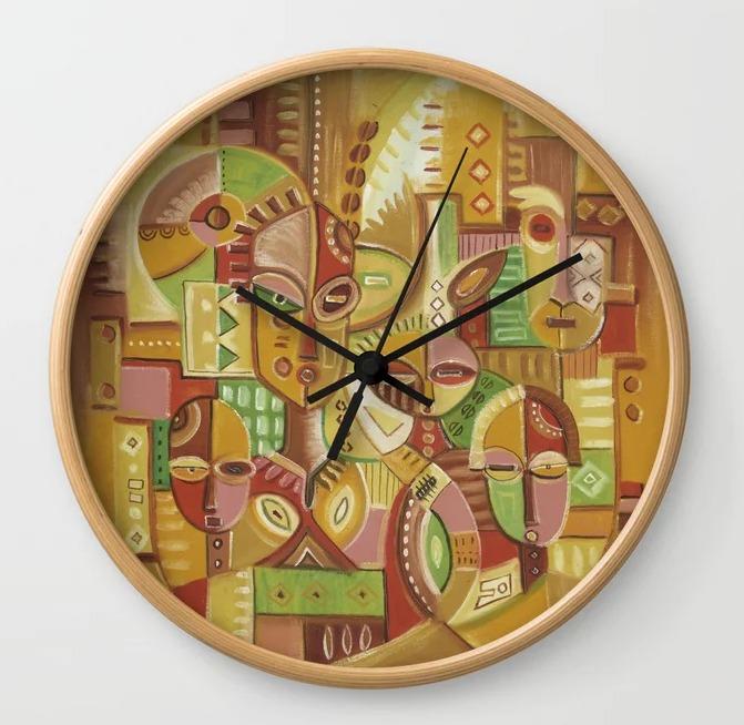 The Happy Family golden clock