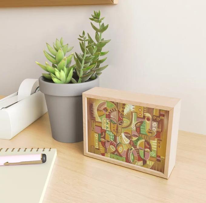 The Happy Family golden framed mini art print
