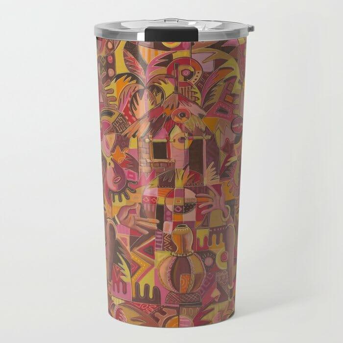 The Happy Villagers travel mug