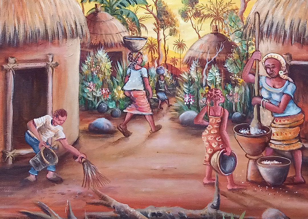 In the Village African villages painting close
