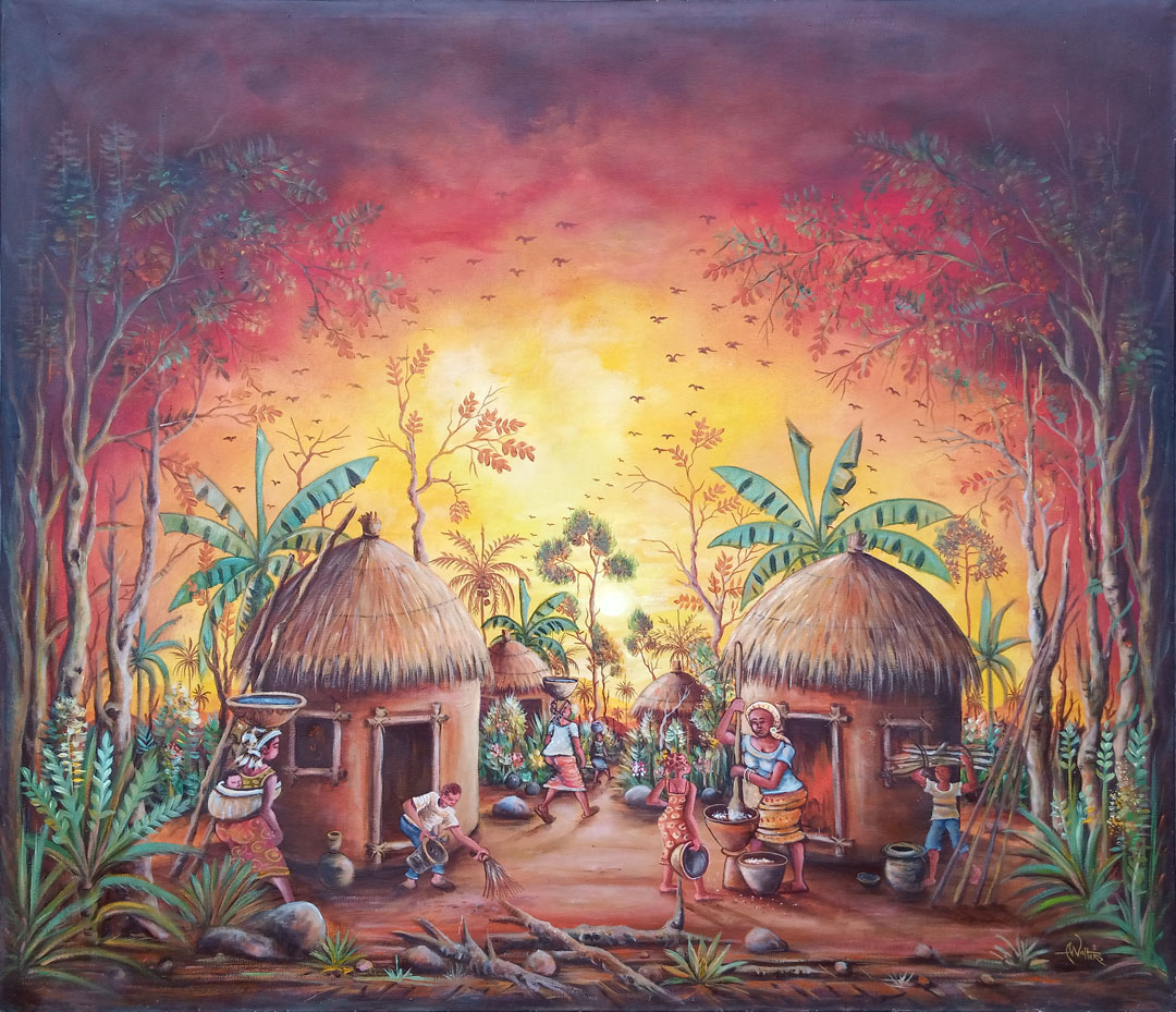 In the Village African villages painting