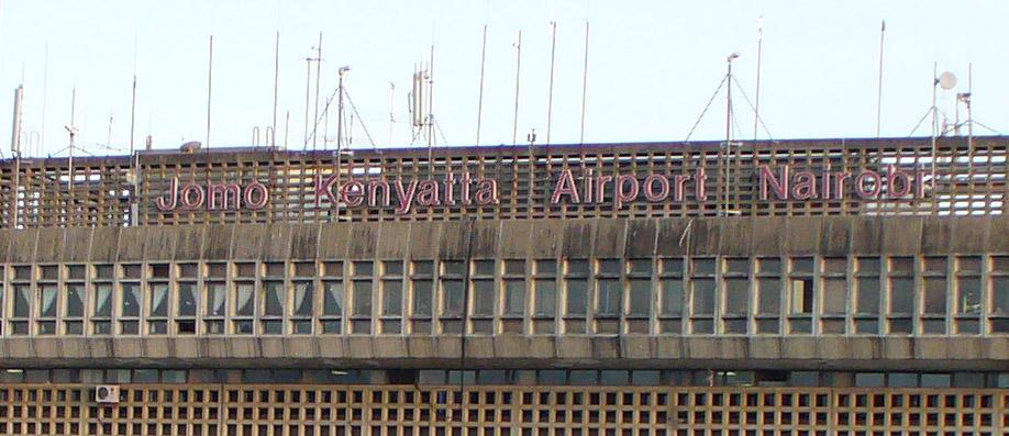 Jomo Kenyatta Airport sign Nairobi