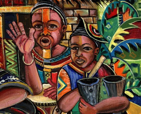 Juju Dance Group African voodoo painting close